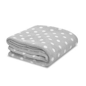 🆕 Kate Spade Grey White Dot Fleece Throw Blanket